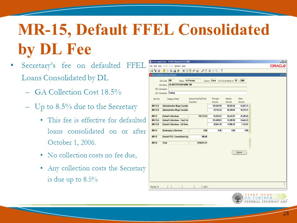 28 MR-15, Default FFEL Consolidated by DL Fee Secretary's fee on defaulted FFEL Loans Consolidated by DL –GA Collection Cost 18.5% –Up to 8.5% due to the Secretary This fee is effective for defaulted loans consolidated on or after October 1, 2006.