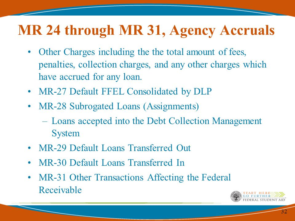 32 MR 24 through MR 31, Agency Accruals Other Charges including the the total amount of fees, penalties, collection charges, and any other charges which have accrued for any loan.