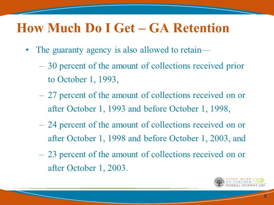 8 How Much Do I Get – GA Retention The guaranty agency is also allowed to retain— –30 percent of the amount of collections received prior to October 1, 1993, –27 percent of the amount of collections received on or after October 1, 1993 and before October 1, 1998, –24 percent of the amount of collections received on or after October 1, 1998 and before October 1, 2003, and –23 percent of the amount of collections received on or after October 1, 2003.