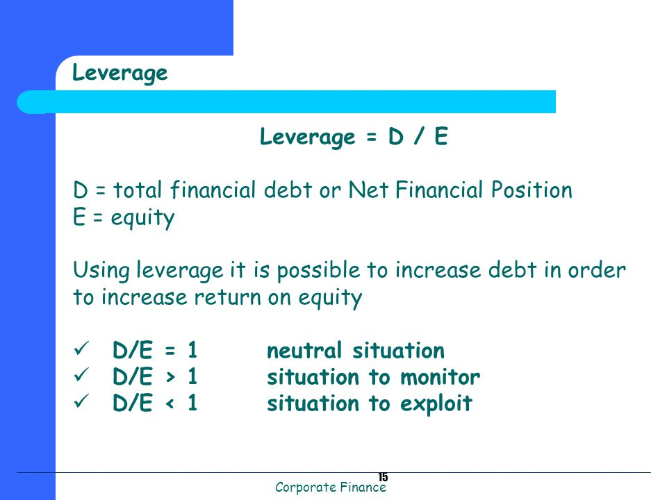 Corporate Finance 15 Leverage Leverage = D / E D = total financial debt or Net Financial Position E = equity Using leverage it is possible to increase debt in order to increase return on equity D/E = 1 neutral situation D/E > 1 situation to monitor D/E < 1 situation to exploit