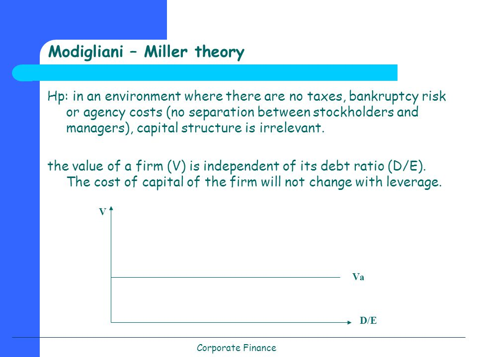 Corporate Finance Modigliani – Miller theory Hp: in an environment where there are no taxes, bankruptcy risk or agency costs (no separation between stockholders and managers), capital structure is irrelevant.
