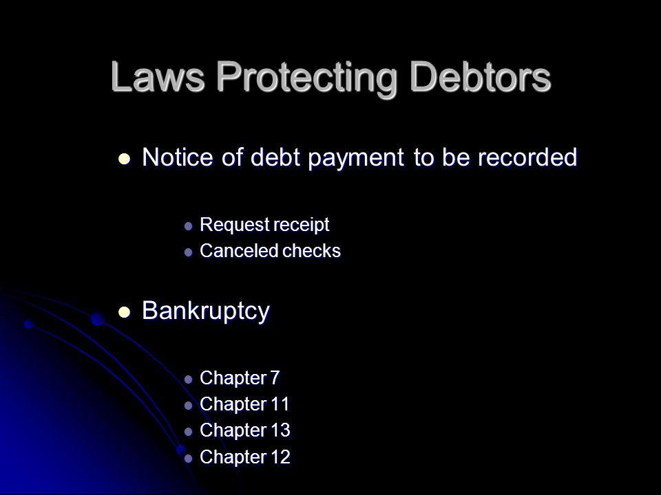 Notice of debt payment to be recorded Notice of debt payment to be recorded Request receipt Request receipt Canceled checks Canceled checks Bankruptcy Bankruptcy Chapter 7 Chapter 7 Chapter 11 Chapter 11 Chapter 13 Chapter 13 Chapter 12 Chapter 12 Laws Protecting Debtors