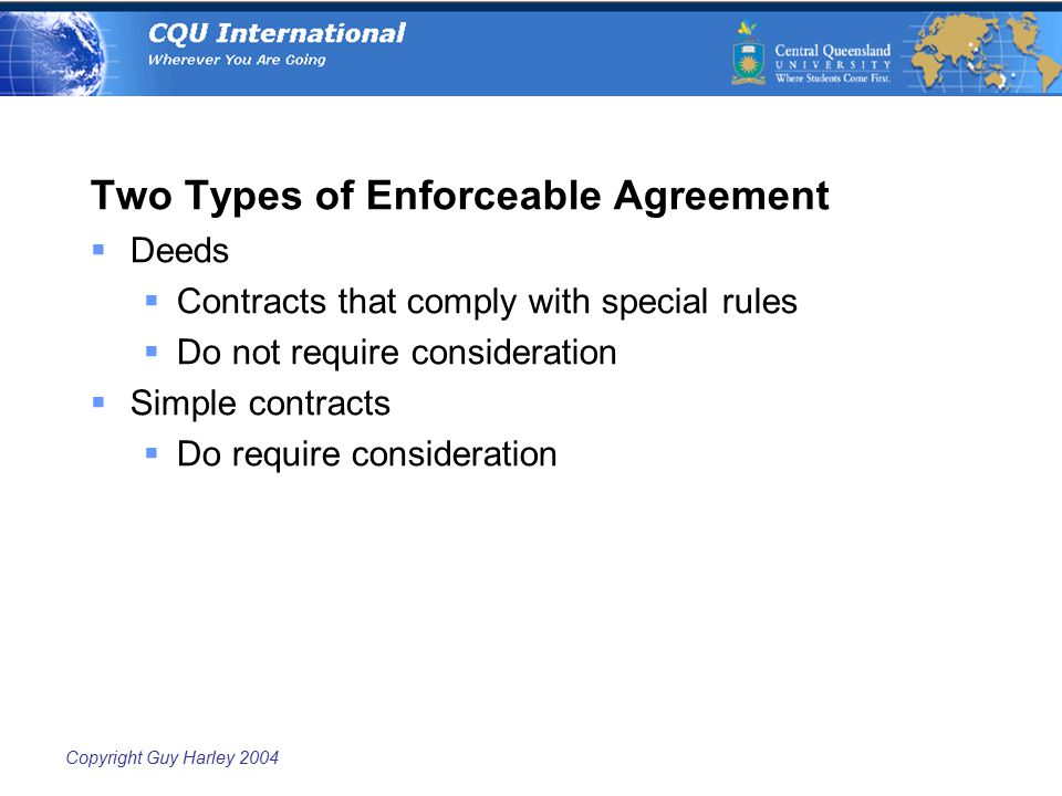 Copyright Guy Harley 2004 Two Types of Enforceable Agreement  Deeds  Contracts that comply with special rules  Do not require consideration  Simple contracts  Do require consideration
