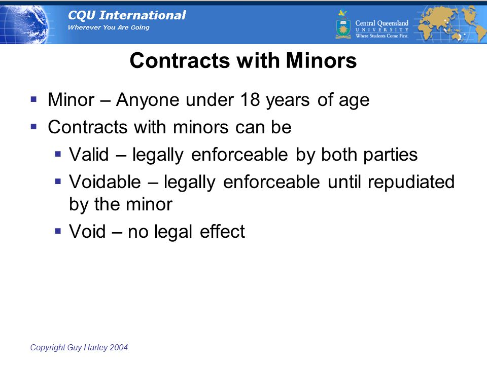 Copyright Guy Harley 2004 Contracts with Minors  Minor – Anyone under 18 years of age  Contracts with minors can be  Valid – legally enforceable by both parties  Voidable – legally enforceable until repudiated by the minor  Void – no legal effect