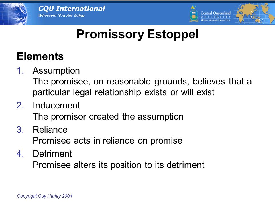 Copyright Guy Harley 2004 Promissory Estoppel Elements 1.Assumption The promisee, on reasonable grounds, believes that a particular legal relationship