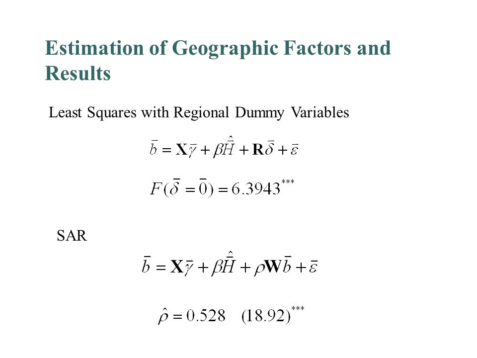 Estimation of Geographic Factors and Results Least Squares with Regional Dummy Variables SAR