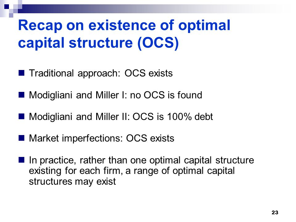 Recap on existence of optimal capital structure (OCS) Traditional approach: OCS exists Modigliani and Miller I: no OCS is found Modigliani and Miller II: OCS is 100% debt Market imperfections: OCS exists In practice, rather than one optimal capital structure existing for each firm, a range of optimal capital structures may exist 23
