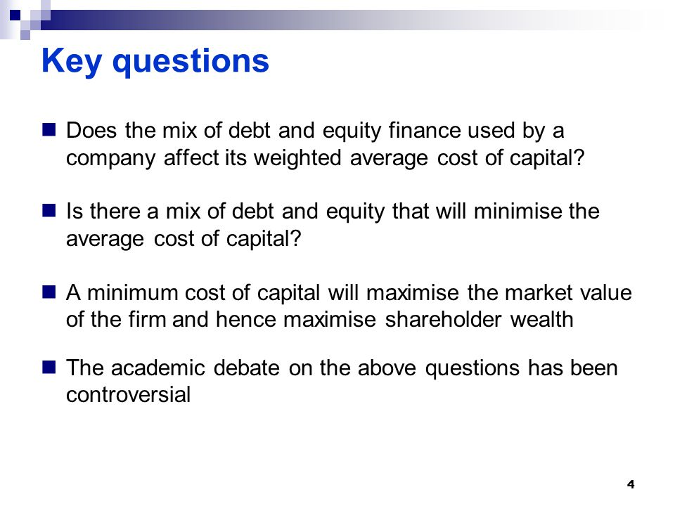Key questions Does the mix of debt and equity finance used by a company affect its weighted average cost of capital.
