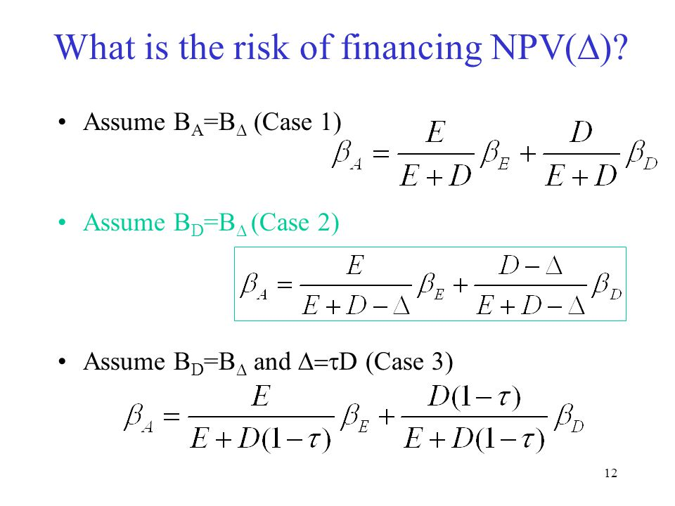 12 What is the risk of financing NPV(  )? Assume B A =B  (Case 1) Assume B D =B  (Case 2) Assume B D =B  and  D (Case 3)