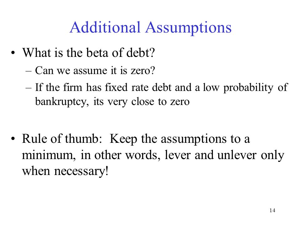 14 Additional Assumptions What is the beta of debt.