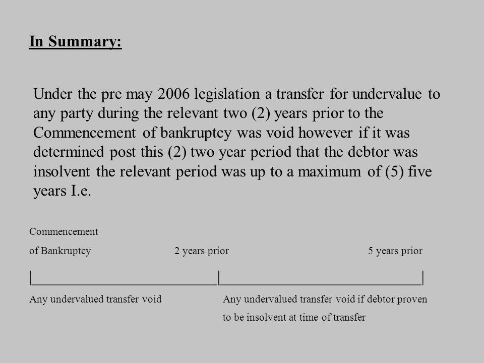 New Legislation Section 120 (3) a) i) & ii) now extends the (2) two year period to (4) four years if the undervalued transfer is to a related party regardless of state of solvency with the (5) five year rule to remain.