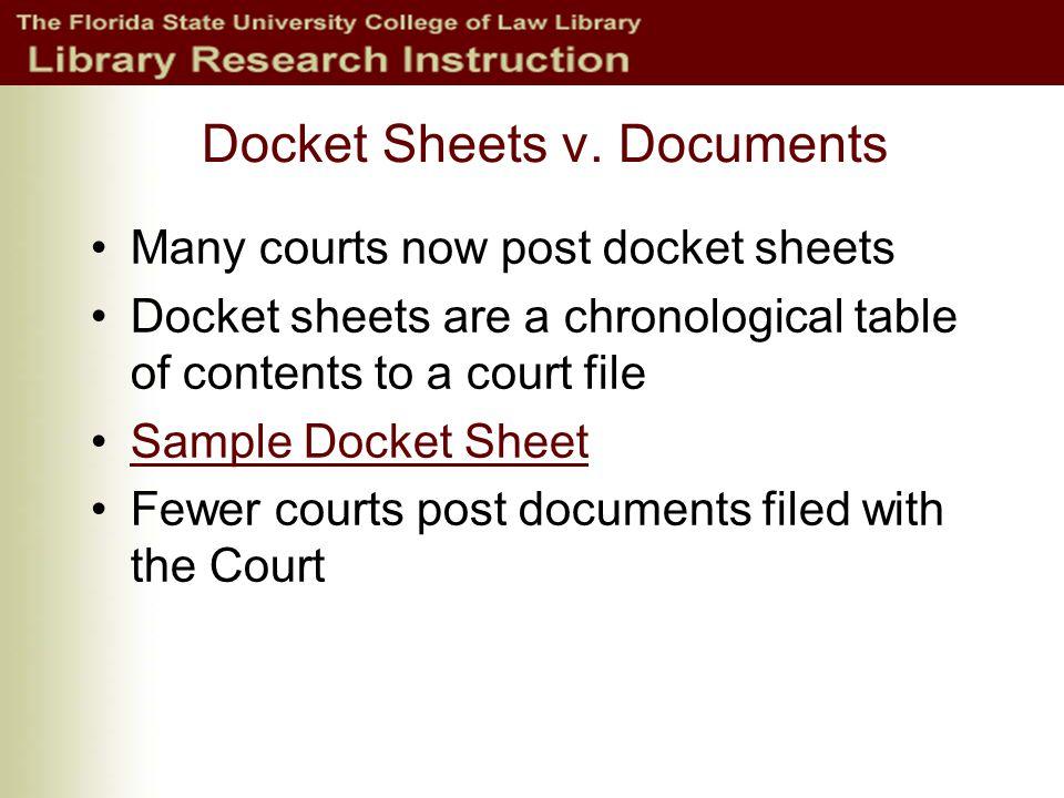 Docket Sheets v.