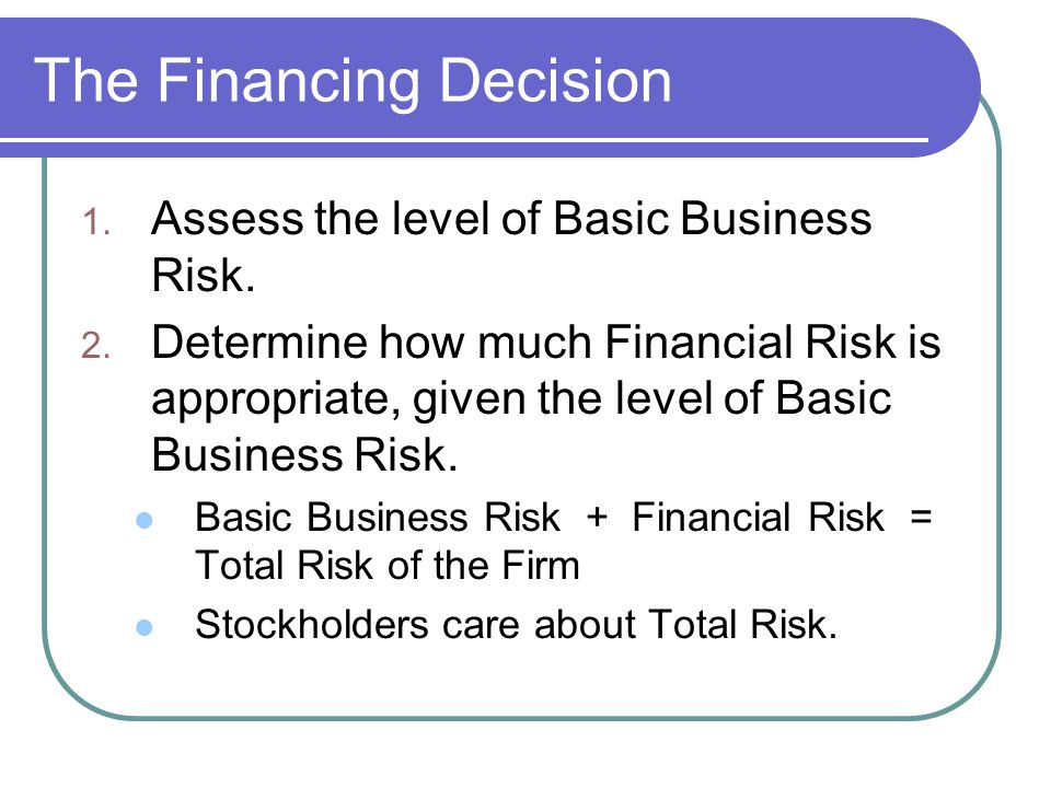 The Financing Decision 1. Assess the level of Basic Business Risk.
