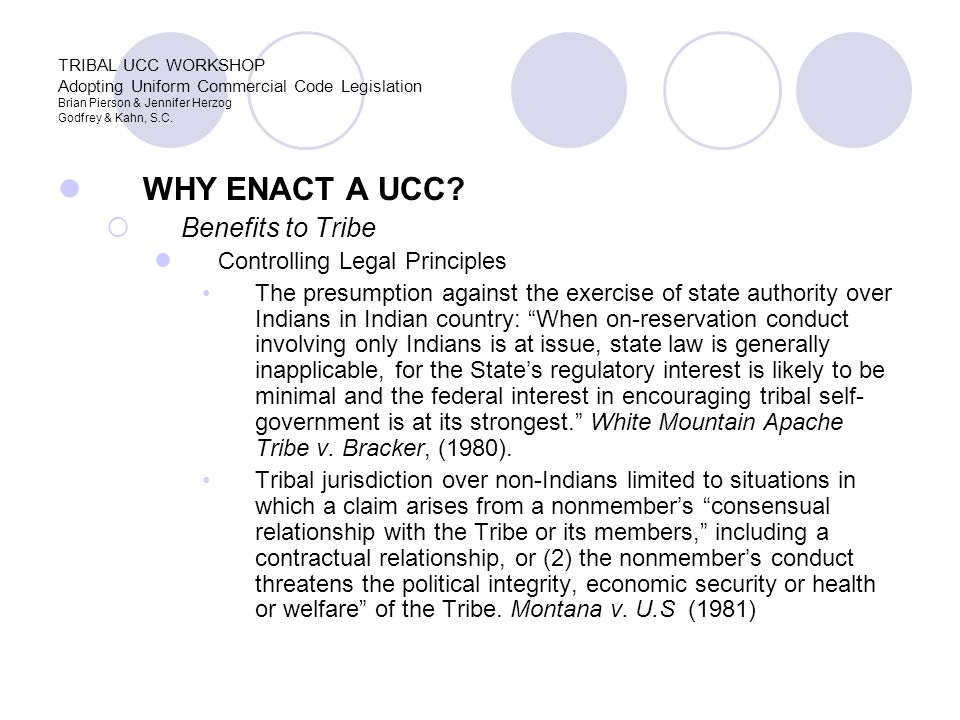 WHY ENACT A UCC.