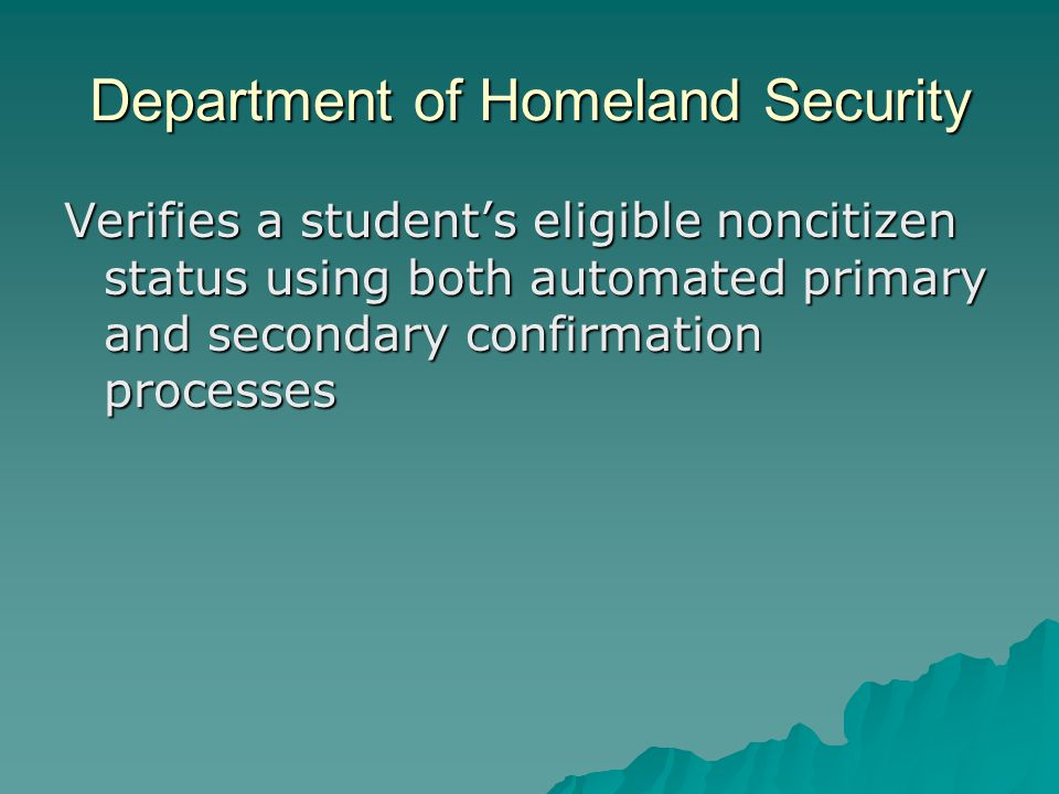 Department of Homeland Security Verifies a student's eligible noncitizen status using both automated primary and secondary confirmation processes