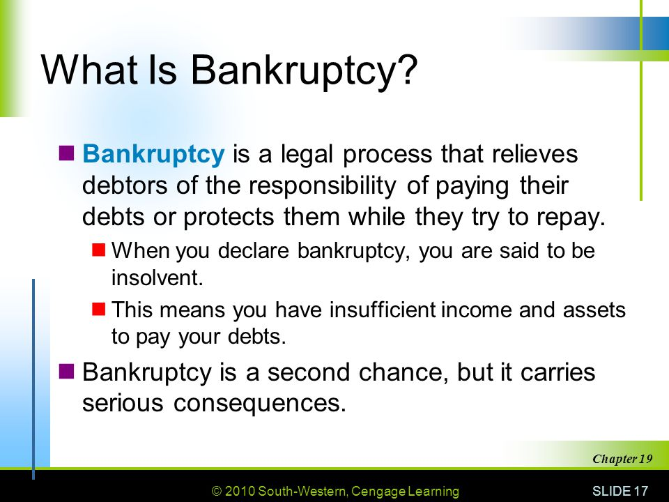 © 2010 South-Western, Cengage Learning SLIDE 17 Chapter 19 What Is Bankruptcy.