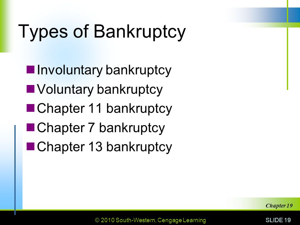 © 2010 South-Western, Cengage Learning SLIDE 19 Chapter 19 Types of Bankruptcy Involuntary bankruptcy Voluntary bankruptcy Chapter 11 bankruptcy Chapter 7 bankruptcy Chapter 13 bankruptcy