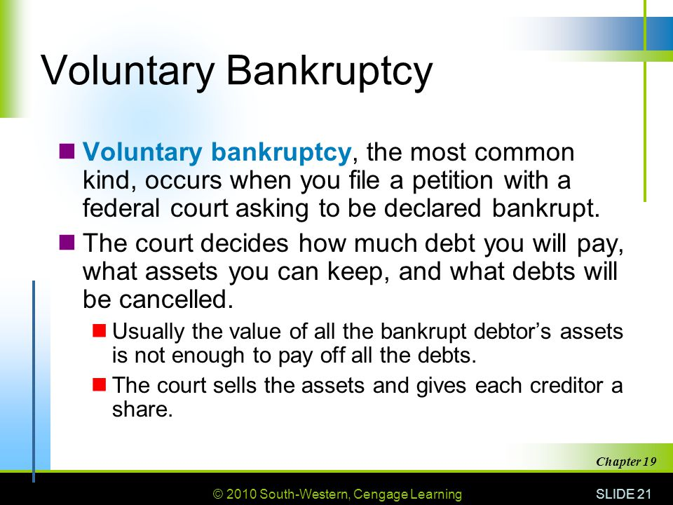 © 2010 South-Western, Cengage Learning SLIDE 21 Chapter 19 Voluntary Bankruptcy Voluntary bankruptcy, the most common kind, occurs when you file a petition with a federal court asking to be declared bankrupt.