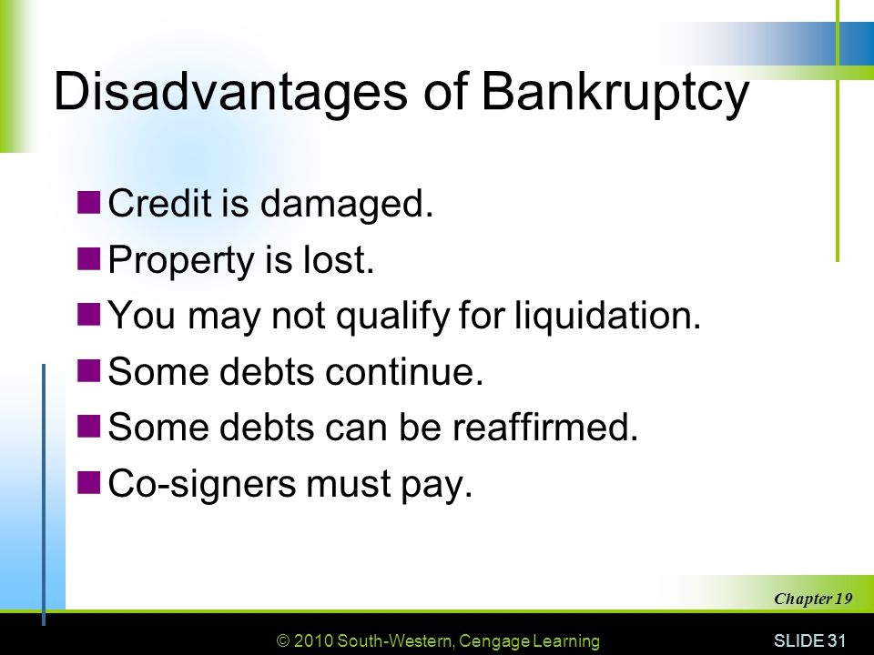 © 2010 South-Western, Cengage Learning SLIDE 31 Chapter 19 Disadvantages of Bankruptcy Credit is damaged.