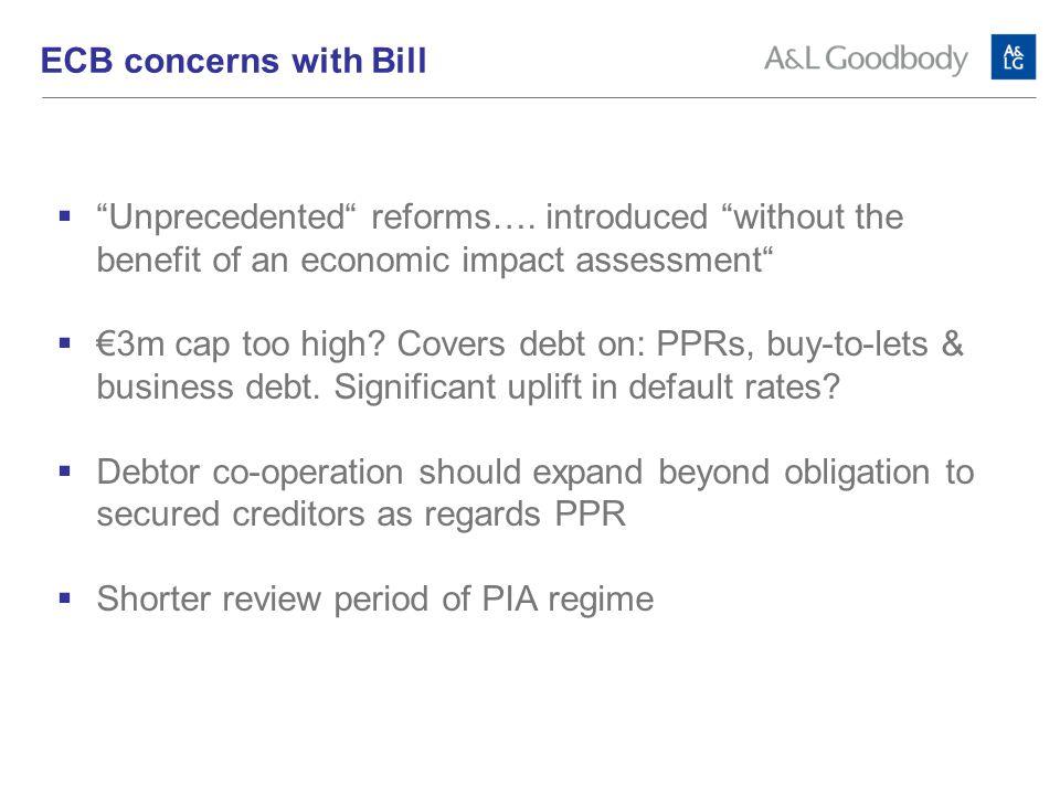 ECB concerns with Bill  Unprecedented reforms….
