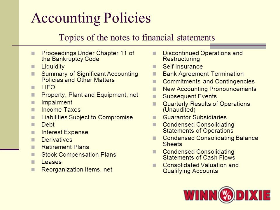 Accounting Policies Topics of the notes to financial statements Proceedings Under Chapter 11 of the Bankruptcy Code Liquidity Summary of Significant Accounting Policies and Other Matters LIFO Property, Plant and Equipment, net Impairment Income Taxes Liabilities Subject to Compromise Debt Interest Expense Derivatives Retirement Plans Stock Compensation Plans Leases Reorganization Items, net Discontinued Operations and Restructuring Self Insurance Bank Agreement Termination Commitments and Contingencies New Accounting Pronouncements Subsequent Events Quarterly Results of Operations (Unaudited) Guarantor Subsidiaries Condensed Consolidating Statements of Operations Condensed Consolidating Balance Sheets Condensed Consolidating Statements of Cash Flows Consolidated Valuation and Qualifying Accounts