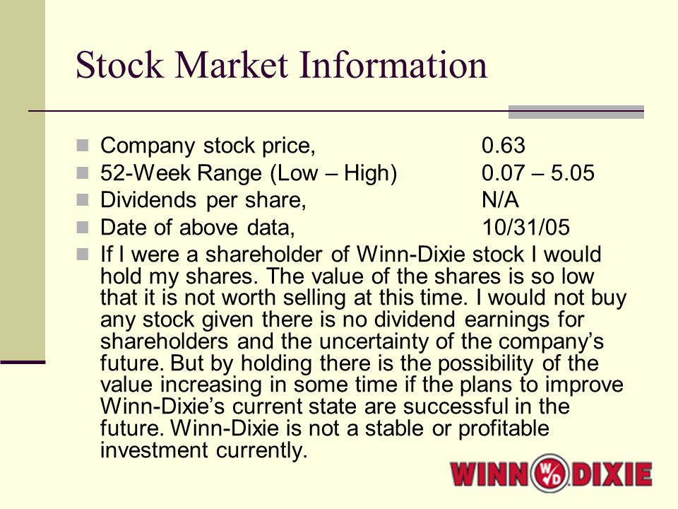 Stock Market Information Company stock price, 0.63 52-Week Range (Low – High) 0.07 – 5.05 Dividends per share,N/A Date of above data,10/31/05 If I were a shareholder of Winn-Dixie stock I would hold my shares.