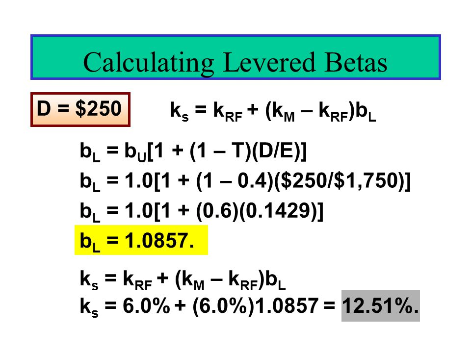 Calculating Levered Betas D = $250 b L = b U [1 + (1 – T)(D/E)] b L = 1.0[1 + (1 – 0.4)($250/$1,750)] b L = 1.0[1 + (0.6)(0.1429)] b L = 1.0857.