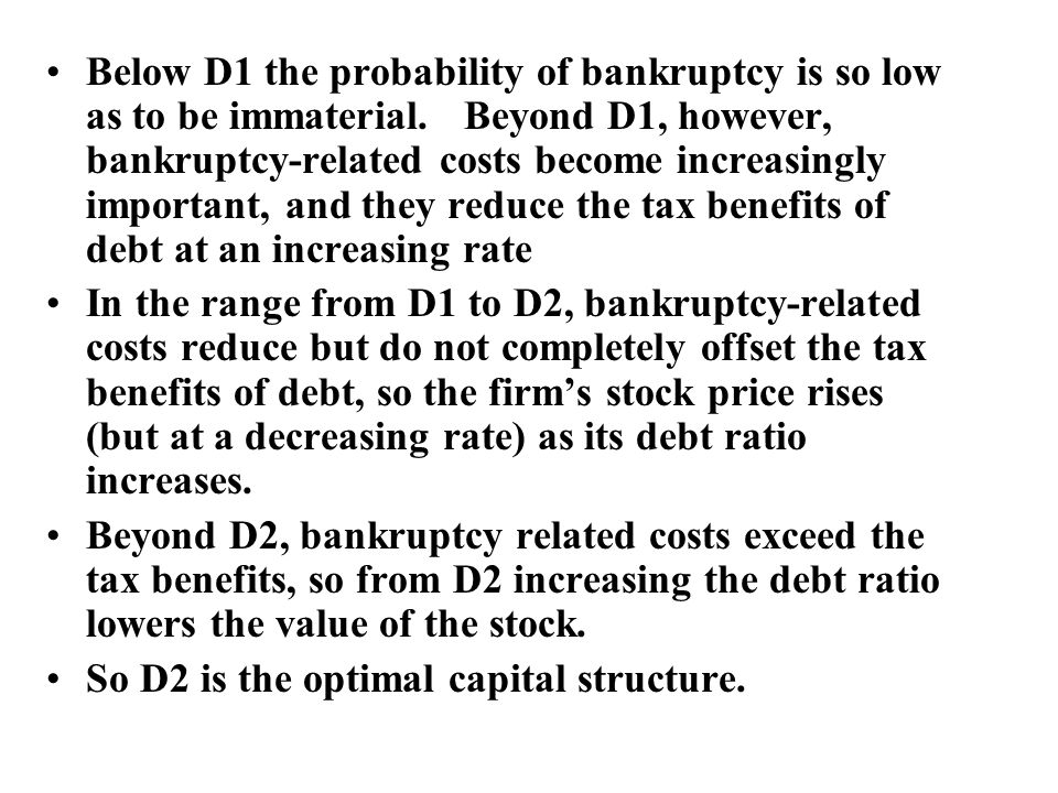 Below D1 the probability of bankruptcy is so low as to be immaterial.