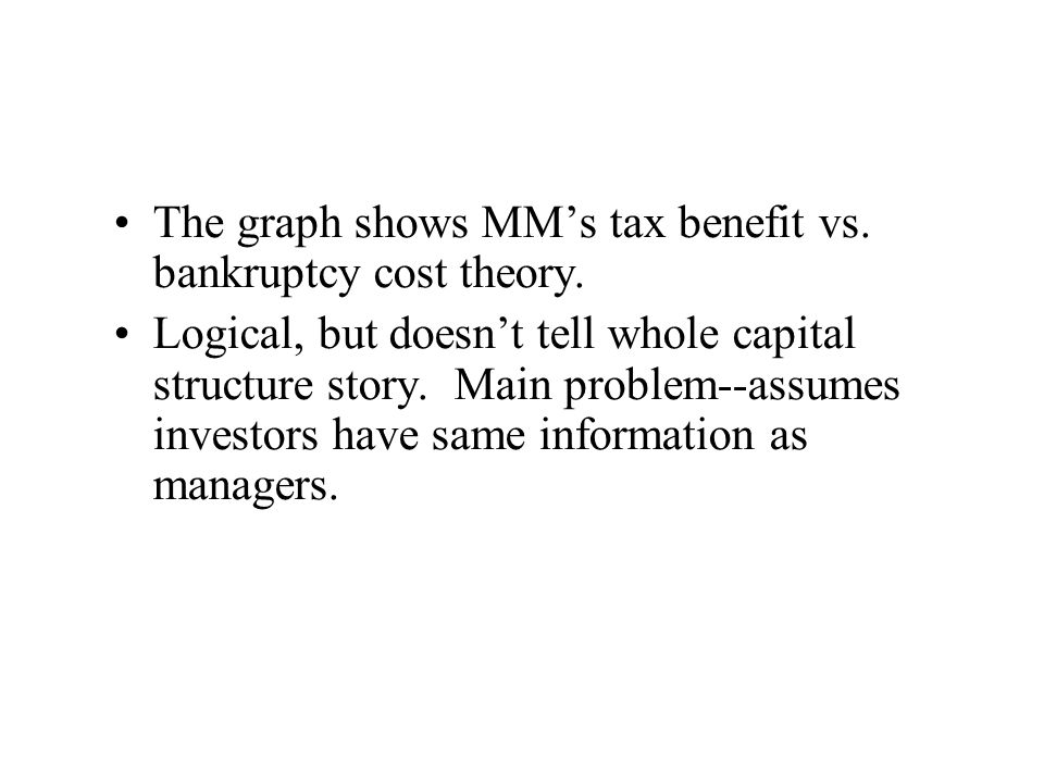 The graph shows MM's tax benefit vs. bankruptcy cost theory.