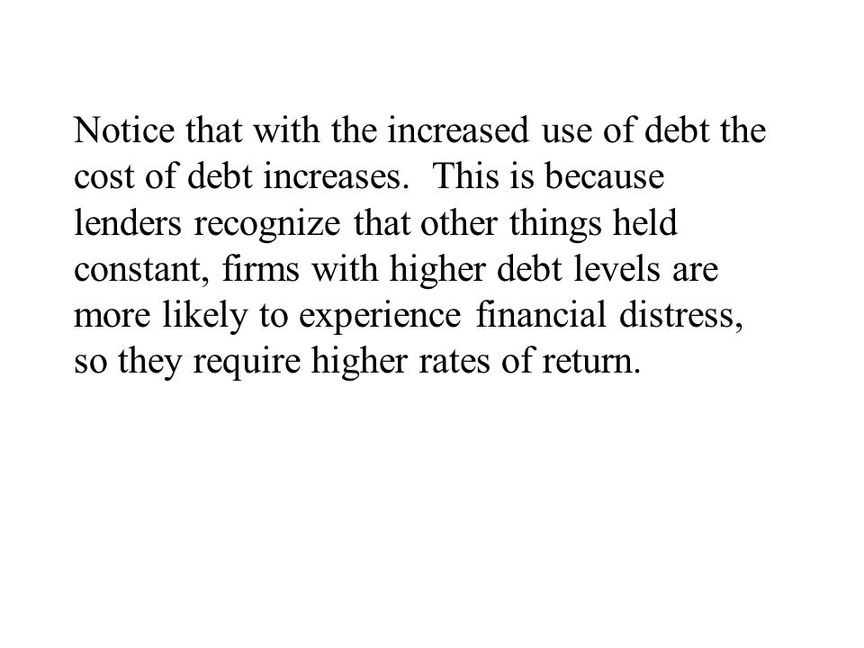 Notice that with the increased use of debt the cost of debt increases.