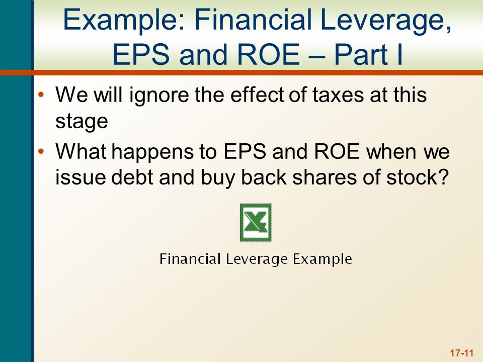 17-11 Example: Financial Leverage, EPS and ROE – Part I We will ignore the effect of taxes at this stage What happens to EPS and ROE when we issue debt and buy back shares of stock?
