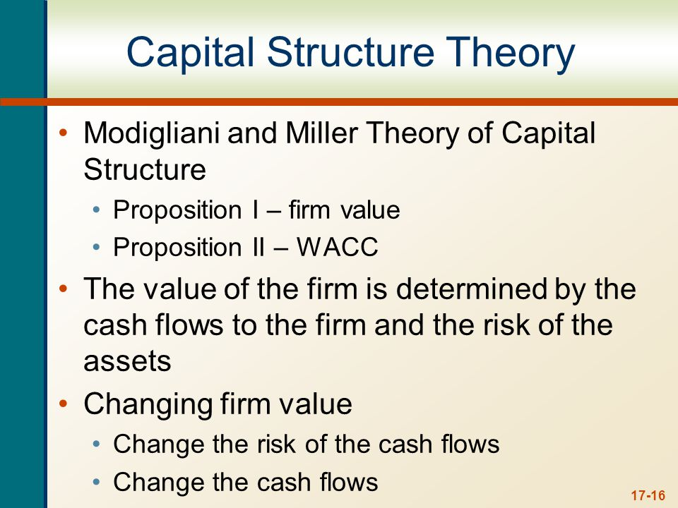 17-16 Capital Structure Theory Modigliani and Miller Theory of Capital Structure Proposition I – firm value Proposition II – WACC The value of the fir