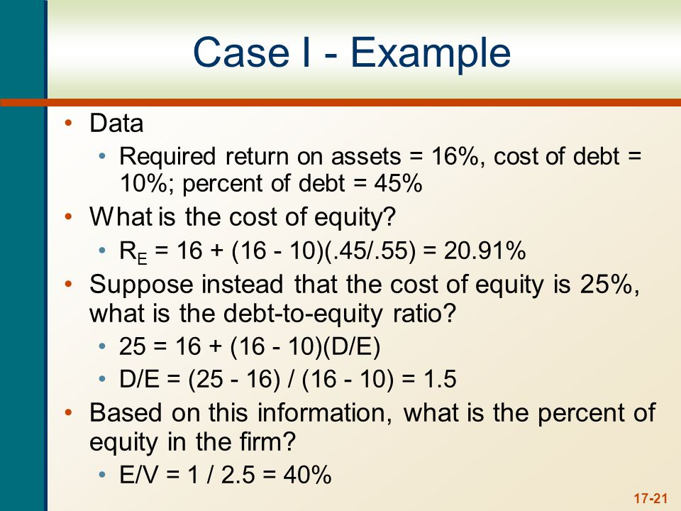 17-21 Case I - Example Data Required return on assets = 16%, cost of debt = 10%; percent of debt = 45% What is the cost of equity.