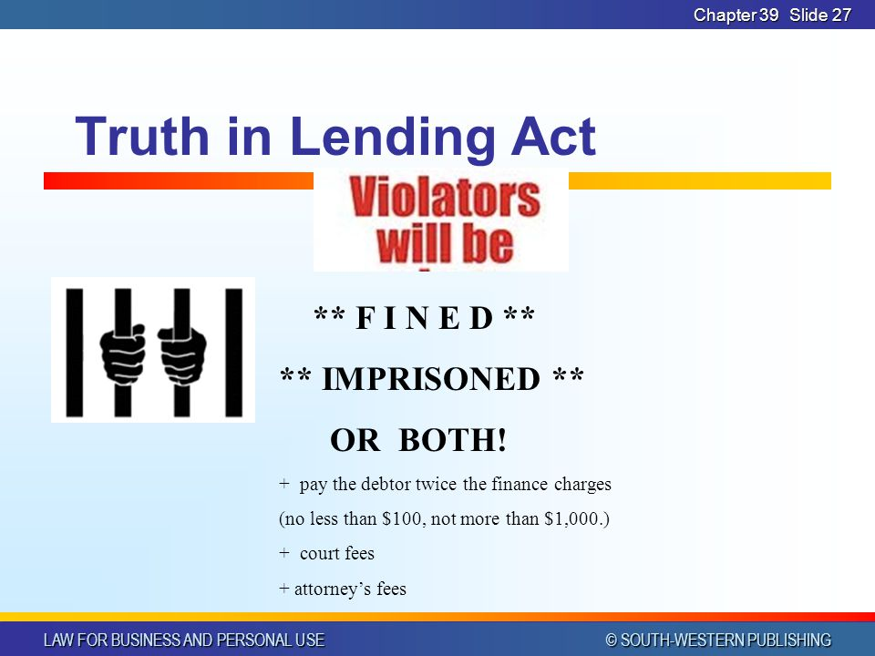 LAW FOR BUSINESS AND PERSONAL USE © SOUTH-WESTERN PUBLISHING Chapter 39Slide 27 Truth in Lending Act ** F I N E D ** ** IMPRISONED ** OR BOTH.