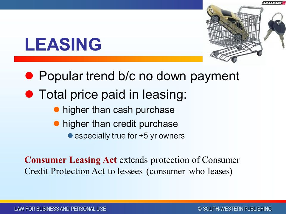 LAW FOR BUSINESS AND PERSONAL USE © SOUTH-WESTERN PUBLISHING Chapter 39Slide 28 LEASING Popular trend b/c no down payment Total price paid in leasing: higher than cash purchase higher than credit purchase especially true for +5 yr owners Consumer Leasing Act extends protection of Consumer Credit Protection Act to lessees (consumer who leases)