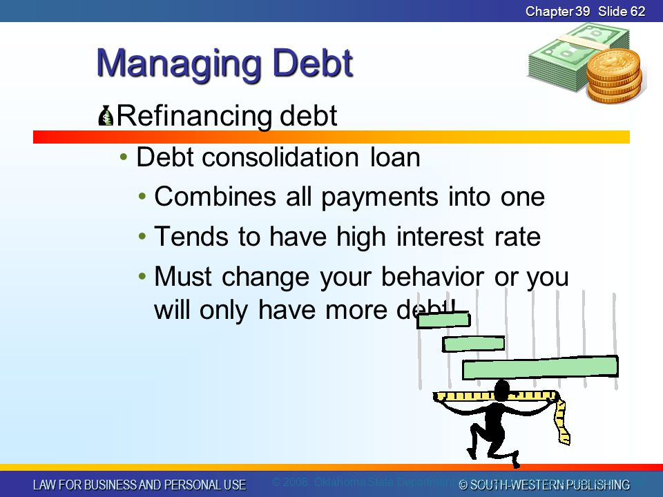 LAW FOR BUSINESS AND PERSONAL USE © SOUTH-WESTERN PUBLISHING Chapter 39Slide 62 Managing Debt Refinancing debt Debt consolidation loan Combines all payments into one Tends to have high interest rate Must change your behavior or you will only have more debt.