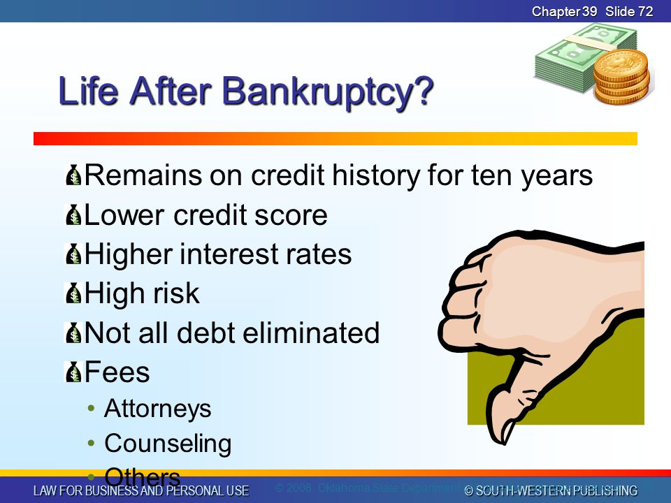 LAW FOR BUSINESS AND PERSONAL USE © SOUTH-WESTERN PUBLISHING Chapter 39Slide 72 Life After Bankruptcy.