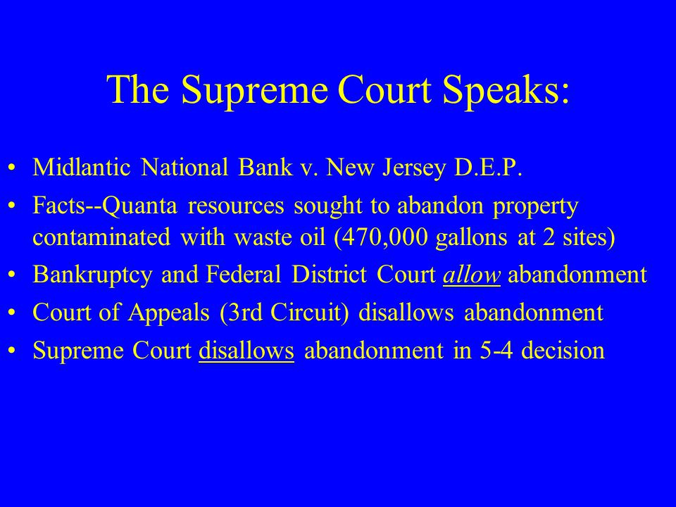 The Supreme Court Speaks: Midlantic National Bank v.