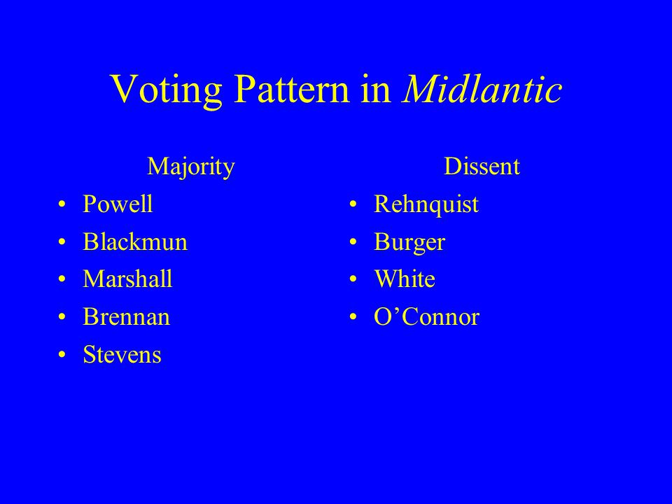 Voting Pattern in Midlantic Majority Powell Blackmun Marshall Brennan Stevens Dissent Rehnquist Burger White O'Connor