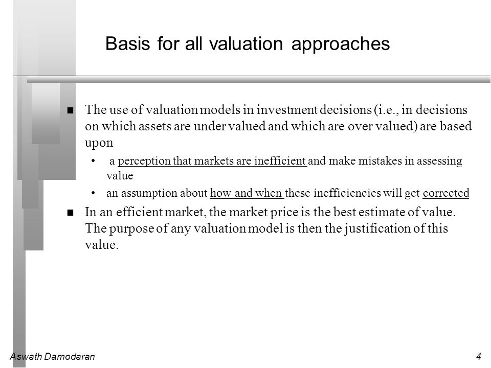 Aswath Damodaran5 Discounted Cash Flow Valuation What is it: In discounted cash flow valuation, the value of an asset is the present value of the expected cash flows on the asset.