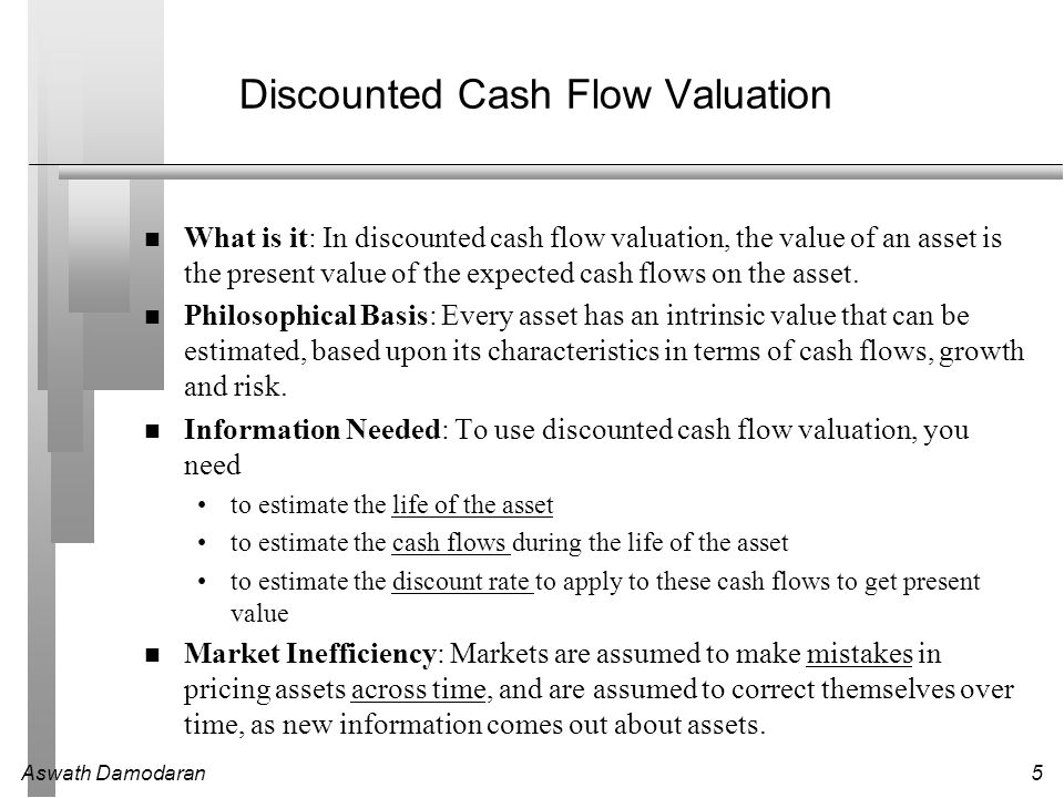 Aswath Damodaran6 Discounted Cashflow Valuation: Basis for Approach where CF t is the cash flow in period t, r is the discount rate appropriate given the riskiness of the cash flow and t is the life of the asset.