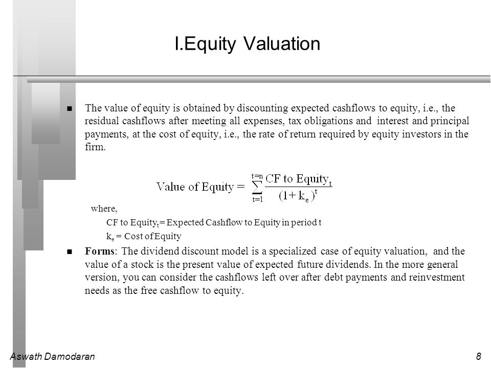 Aswath Damodaran39 Underlying Theme: Searching for an Elusive Premium Traditional discounted cashflow models under estimate the value of investments, where there are options embedded in the investments to Delay or defer making the investment (delay) Adjust or alter production schedules as price changes (flexibility) Expand into new markets or products at later stages in the process, based upon observing favorable outcomes at the early stages (expansion) Stop production or abandon investments if the outcomes are unfavorable at early stages (abandonment) Put another way, real option advocates believe that you should be paying a premium on discounted cashflow value estimates.