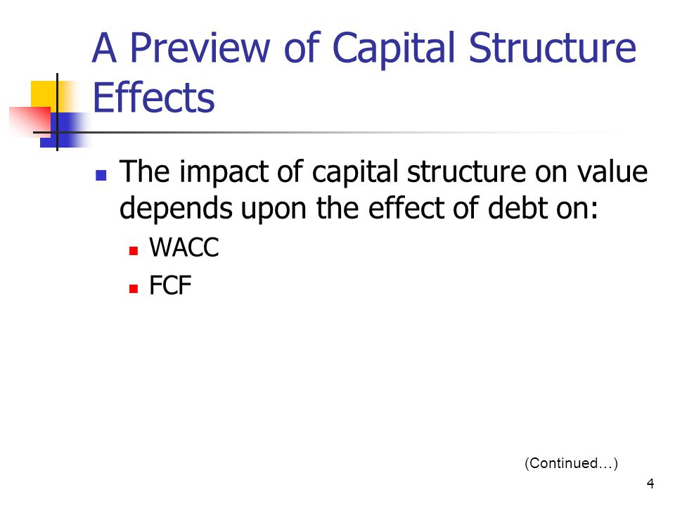 5 The Effect of Additional Debt on WACC Debtholders have a prior claim on cash flows relative to stockholders.