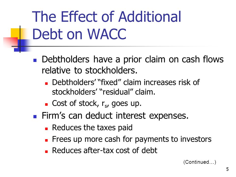 "5 The Effect of Additional Debt on WACC Debtholders have a prior claim on cash flows relative to stockholders. Debtholders' ""fixed"" claim increases ri"