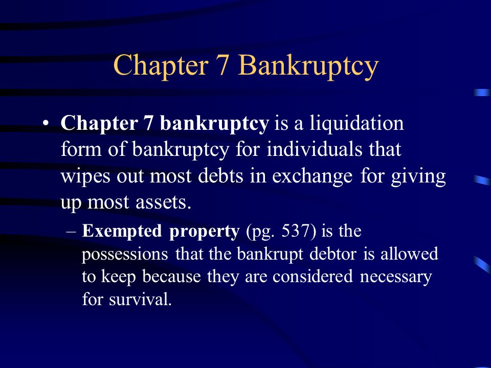 Chapter 13 Bankruptcy Chapter 13 bankruptcy is a reorganization form of bankruptcy for individuals that allows debtors to keep their property and use their income to pay a portion of their debts over three to five years.