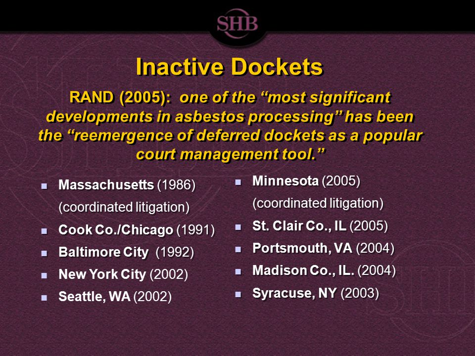 Inactive Dockets RAND (2005): one of the most significant developments in asbestos processing has been the reemergence of deferred dockets as a popular court management tool. Minnesota (2005) (coordinated litigation) St.