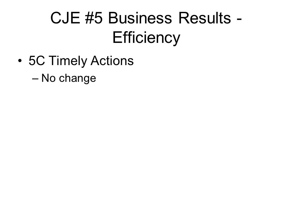 CJE #5 Business Results - Efficiency 5C Timely Actions –No change