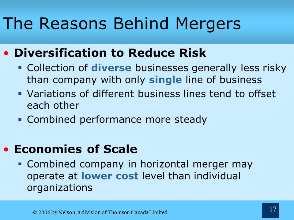 © 2006 by Nelson, a division of Thomson Canada Limited 17 The Reasons Behind Mergers Diversification to Reduce Risk  Collection of diverse businesses generally less risky than company with only single line of business  Variations of different business lines tend to offset each other  Combined performance more steady Economies of Scale  Combined company in horizontal merger may operate at lower cost level than individual organizations