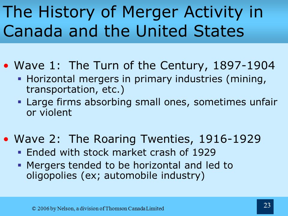 © 2006 by Nelson, a division of Thomson Canada Limited 23 The History of Merger Activity in Canada and the United States Wave 1: The Turn of the Century, 1897-1904  Horizontal mergers in primary industries (mining, transportation, etc.)  Large firms absorbing small ones, sometimes unfair or violent Wave 2: The Roaring Twenties, 1916-1929  Ended with stock market crash of 1929  Mergers tended to be horizontal and led to oligopolies (ex; automobile industry)