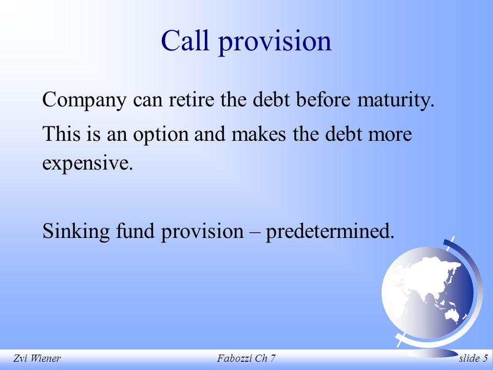 Zvi WienerFabozzi Ch 7 slide 5 Call provision Company can retire the debt before maturity.